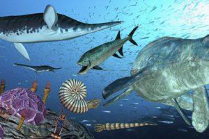 オリジナルイラストの実例、白亜紀の海中編